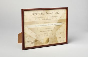 Star name registry certificate in wooden frame